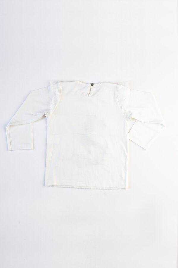 Penye Arka 600x900 - Önü Tül Kaplamalı Baskı Desenli Yakası İnci Detaylı Uzun Kollu Şık Tshirt
