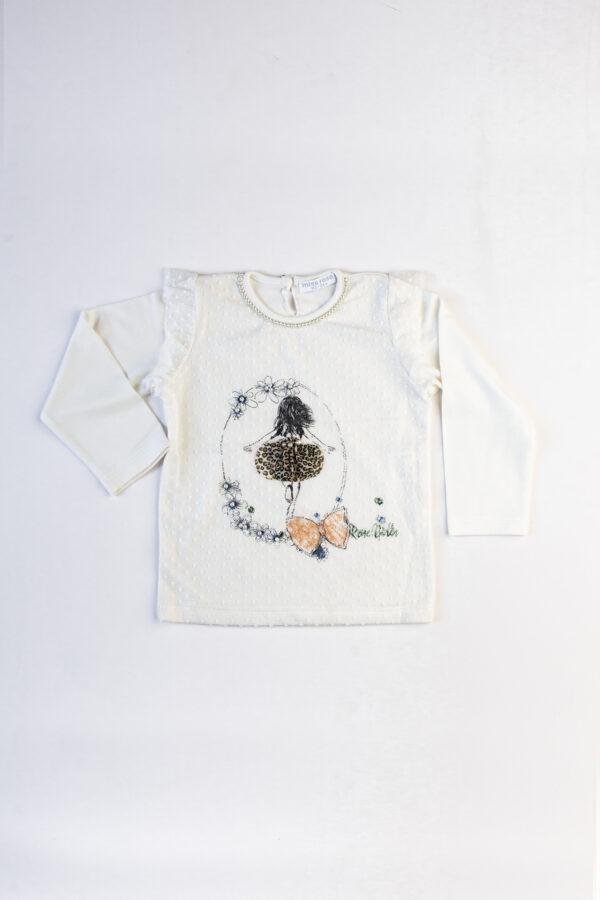 Penye Ön 600x900 - Önü Tül Kaplamalı Baskı Desenli Yakası İnci Detaylı Uzun Kollu Şık Tshirt